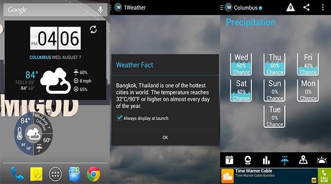 Po prvé to najlepšie počasie pre aplikácie robot Miestne počasie je známa  pod názvom 1Weather. Táto aplikácia je úžasné. Obsahuje všetko 7c4c4145992