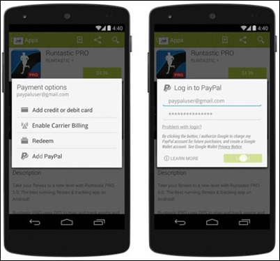 Google adauga posibilitatea de plata prin Pay Pal in Play Store (Android)