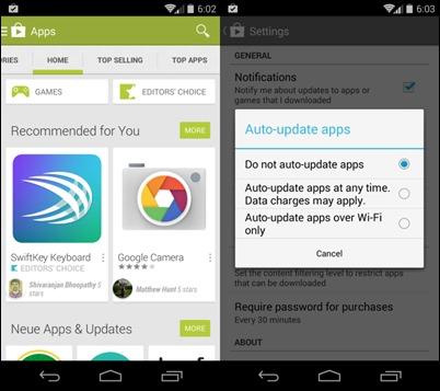 aplicativos auto-atualização do Android