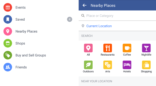 Facebook places nearby