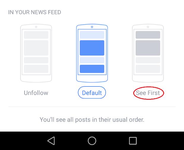 鑑於Facebook的朋友首先更新